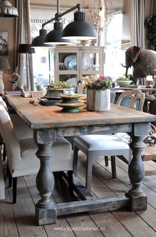 Awesome Dining Room Table With Chunky Legs Distressed Finish With Dining Tables With Large Legs (Image 1 of 25)