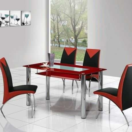 Awesome Red Dining Table Design E With Glass Top And Also Four Throughout Red Dining Table Sets (View 20 of 25)