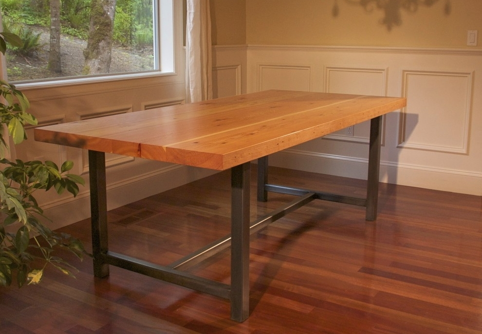 Awesome Wood Dining Table With Metal Legs Remarkable Steel Legs For Throughout Iron And Wood Dining Tables (Image 5 of 25)