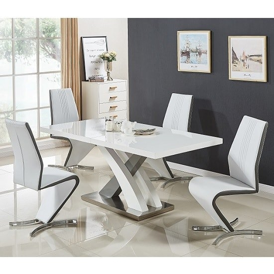 Axara Extendable Dining Set Small White Grey Gloss 4 Gia Throughout Small White Extending Dining Tables (Image 3 of 25)