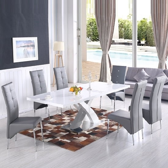 Axara Extendable Dining Table In White With 6 Vesta Grey Regarding Dining Tables With Grey Chairs (Image 3 of 25)