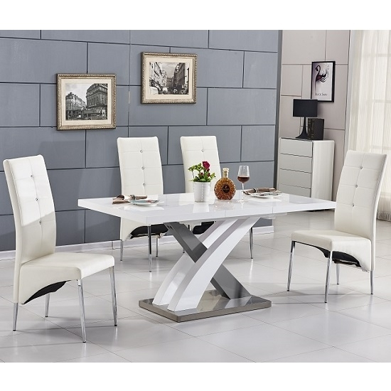 Axara Extending Small Dining Table White Grey Gloss 4 White Pertaining To Small Extending Dining Tables And 4 Chairs (View 5 of 25)