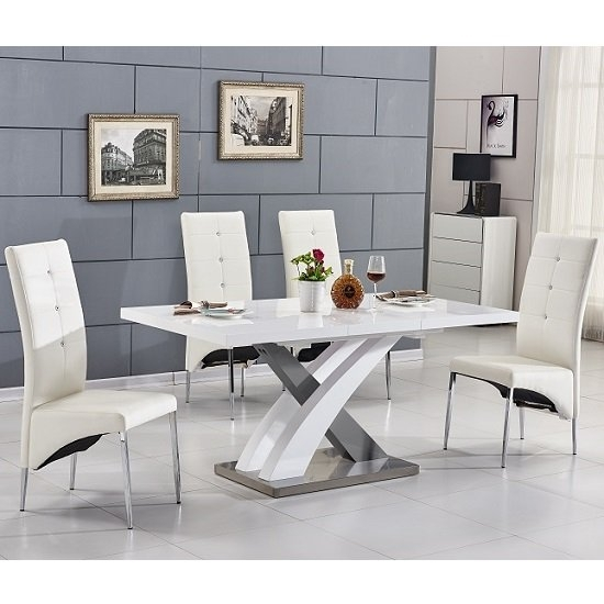 Axara Extending Small Dining Table White Grey Gloss 4 White Pertaining To Small White Extending Dining Tables (Image 4 of 25)