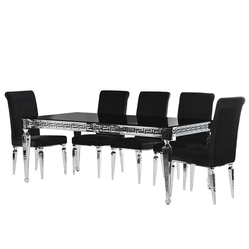 Aztec Black & Chrome 2M 7 Piece Dining Table Set : F D Interiors Ltd Inside Chrome Dining Tables And Chairs (Image 3 of 25)