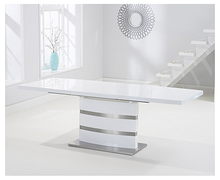 Babington 160Cm White High Gloss Extending Dining Table For White Gloss Extending Dining Tables (Image 2 of 25)