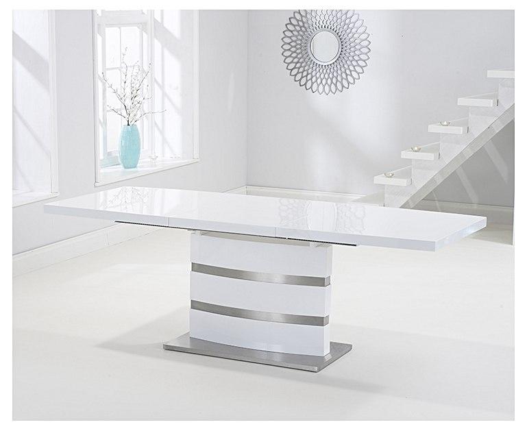 Babington 160Cm White High Gloss Extending Dining Table For White Gloss Extending Dining Tables (Image 2 of 25)