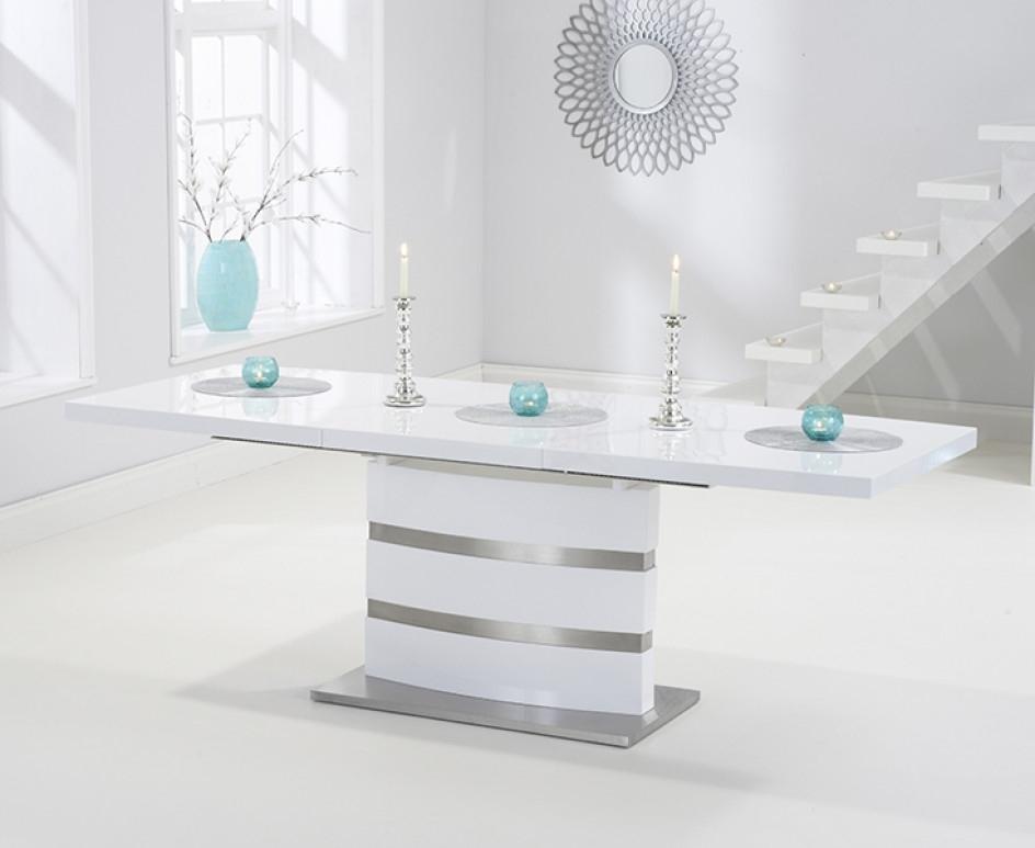 Babington 160Cm White High Gloss Extending Dining Table | The Great For High Gloss White Extending Dining Tables (View 23 of 25)