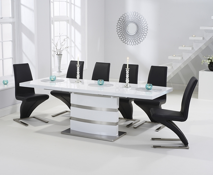 Babington 160Cm White High Gloss Extending Dining Table With Regarding High Gloss Extendable Dining Tables (View 19 of 25)