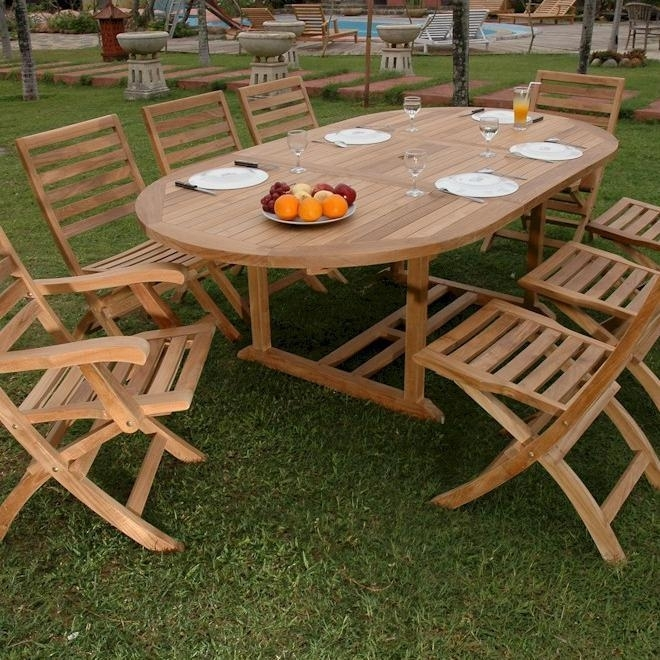 Bahama Andrew 9 Piece Teak Patio Dining Set W/ 63 X 47 Inch With Craftsman 9 Piece Extension Dining Sets (View 16 of 25)