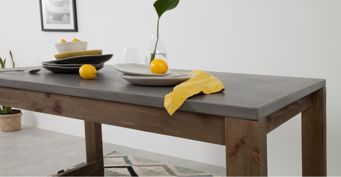 Bala Dining Table And Set Of 2 Bench, Concrete   Made Regarding Dining Tables And 2 Benches (Image 3 of 25)