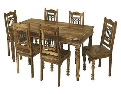 Bali 175Cm Dining Table And Set Of 6 Chairs Indian Wood Furniture With Regard To Wooden Dining Tables And 6 Chairs (Image 2 of 25)