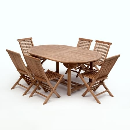 Bali Teak 180 Cm Oval 6 Seat Garden Dining Set | Gardens & Homes Direct In Bali Dining Sets (View 11 of 25)