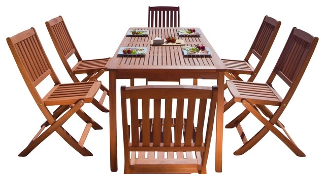 Balthazar Rectangular Table & Folding Chair Outdoor Wood Dining Set Intended For Folding Outdoor Dining Tables (View 14 of 25)