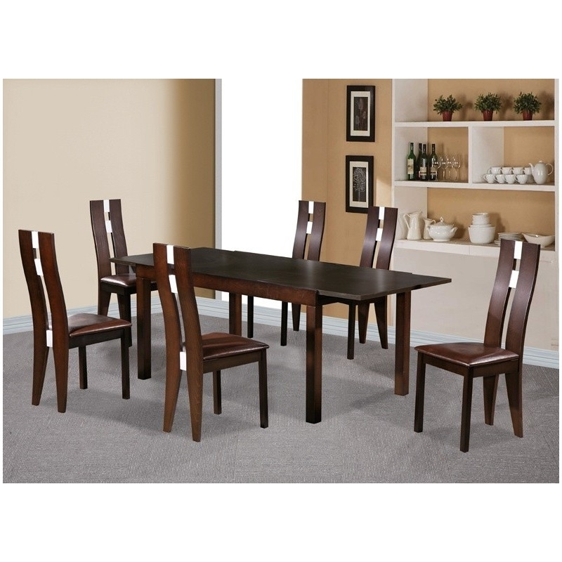 Baltic Dining Table Set 6 Chairs Dark Walnut Veneer – Brixton Beds Inside Dark Wood Dining Tables And 6 Chairs (Image 3 of 25)