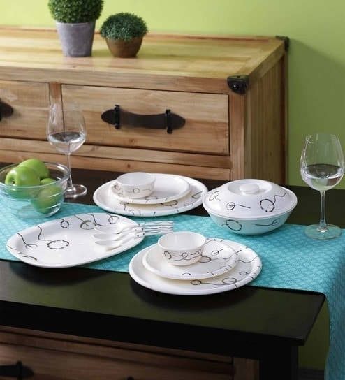 Baltra Angelina White Melamine Dinner Set – Set Of 40Baltra With White Melamine Dining Tables (Image 2 of 25)