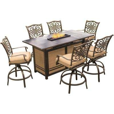Bar Height – Outdoor Bar Furniture – Patio Furniture – The Home Depot Intended For Laurent 7 Piece Rectangle Dining Sets With Wood Chairs (Image 2 of 25)