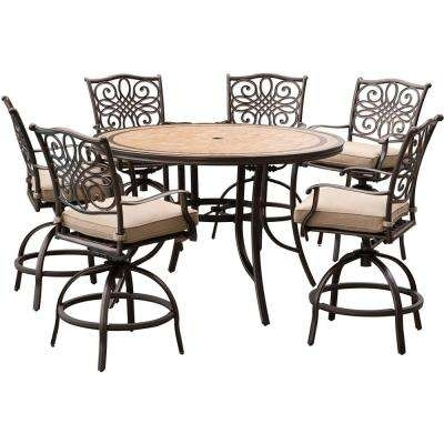 Bar Height – Outdoor Bar Furniture – Patio Furniture – The Home Depot Pertaining To Laurent 7 Piece Rectangle Dining Sets With Wood Chairs (View 16 of 25)