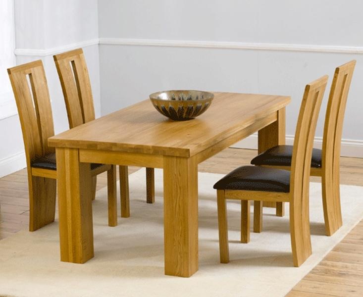 Barcelona 180Cm Oak Dining Set Solid Oak 180Cm Dining Table Sets Inside Oak Dining Sets (Image 1 of 25)