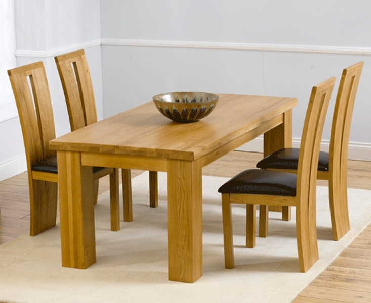 Barcelona 180Cm Oak Dining Set Solid Oak 180Cm Dining Table Sets Inside Oak Dining Tables And 4 Chairs (Image 4 of 25)