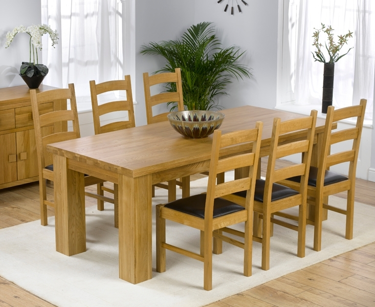 Barcelona 200Cm Oak Dining Set 200Cm Solid Oak Dining Table Set For Chunky Solid Oak Dining Tables And 6 Chairs (Image 1 of 25)