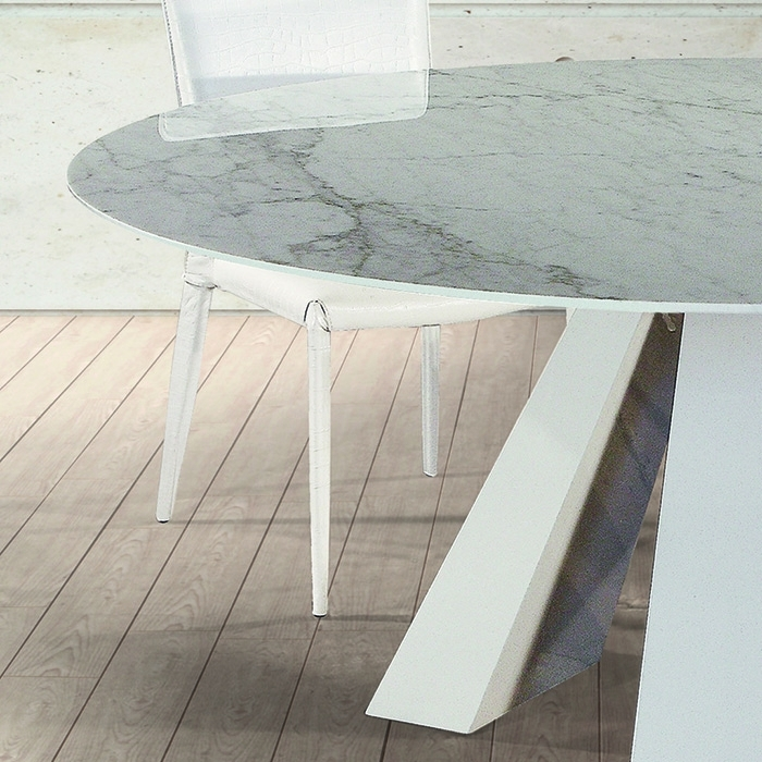 Barcelona Cortina White Marble Round Dining Table – Robson Furniture Pertaining To Barcelona Dining Tables (Image 4 of 25)