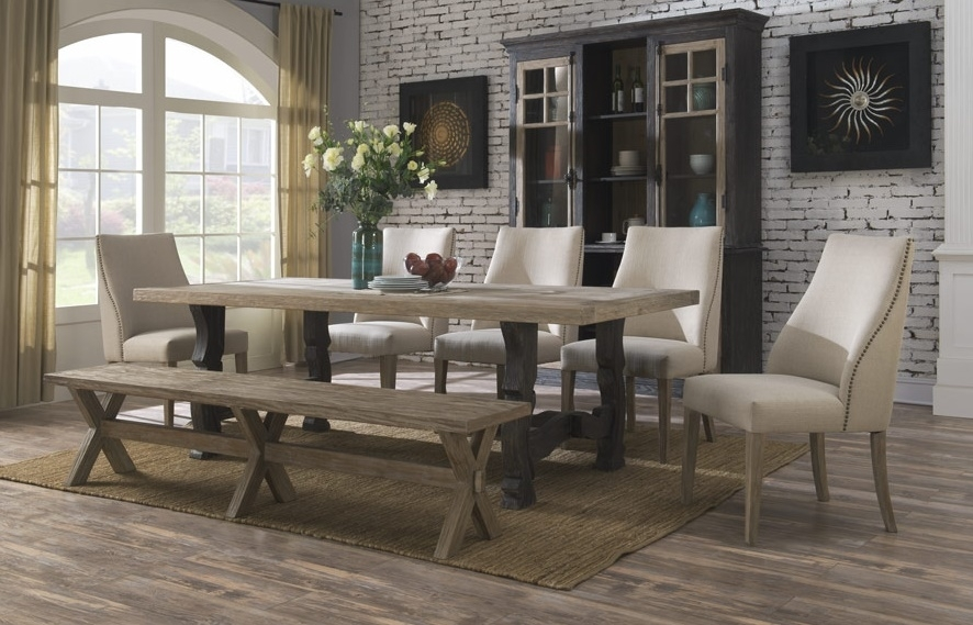 Barcelona Dining Collection With Ladderback And Upholstered Chairs Pertaining To Barcelona Dining Tables (Image 6 of 25)