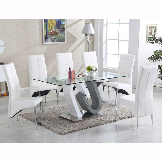 Barcelona Dining Table In Clear Glass Top With Stainless Steel Base Intended For Grey Glass Dining Tables (Image 3 of 25)
