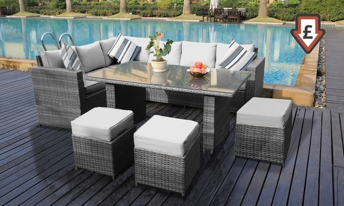 Barcelona Rattan Dining Set | Groupon Goods In Barcelona Dining Tables (Image 12 of 25)