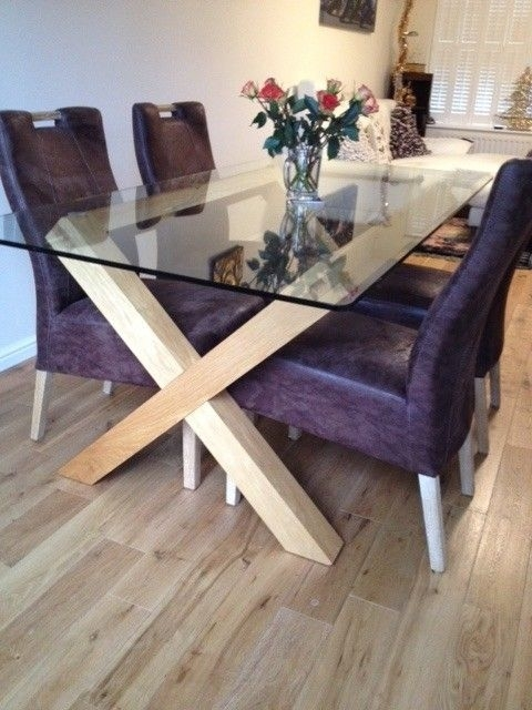 Bargain – Oak Glass Dining Table (Bentley Designs) And 4 Limed Oak Pertaining To Oak Glass Dining Tables (Image 3 of 25)