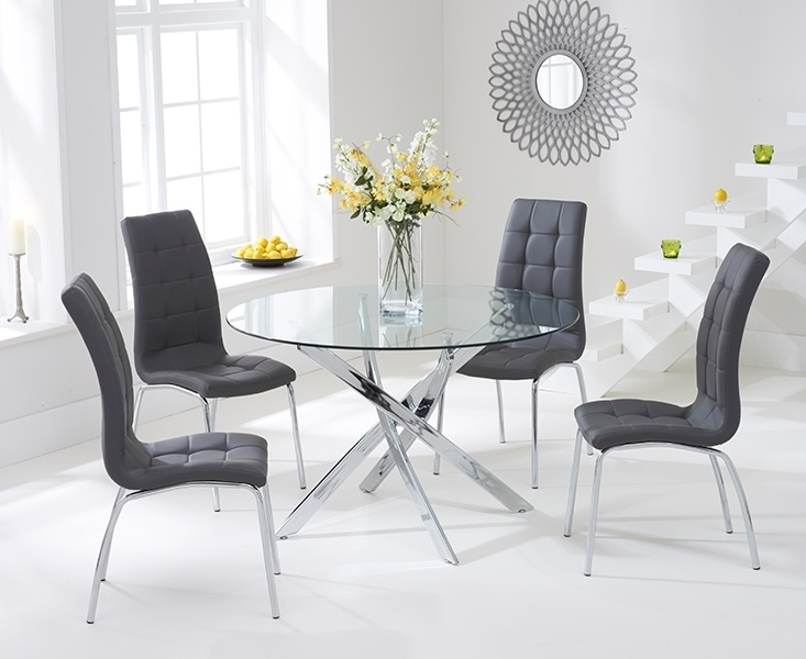 Bari Glass 110Cm Round Dining Set With 2 Forli Grey Chairs With Dining Tables With Grey Chairs (Image 4 of 25)