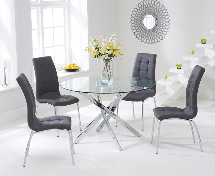 Bari Glass 110Cm Round Dining Set With 2 Forli Grey Chairs With Dining Tables With Grey Chairs (Image 4 of 25)