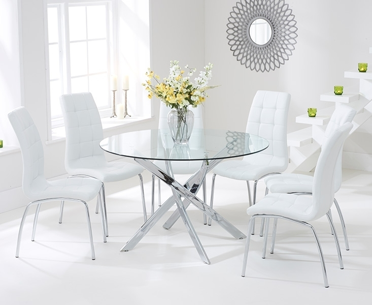 Bari Glass 120Cm Round Dining Set With 4 Forli White Chairs With Glass Dining Tables White Chairs (Image 5 of 25)