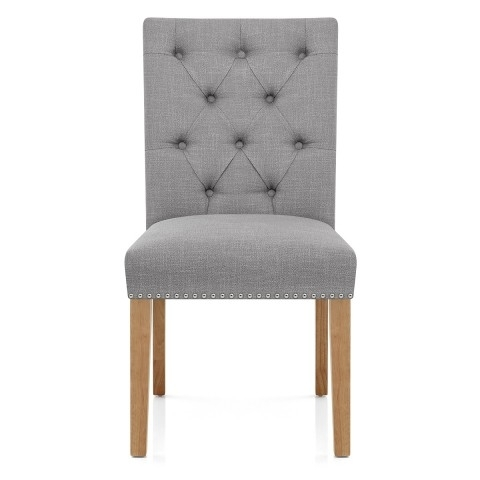 Barrington Oak Dining Chair Grey Fabric – Atlantic Shopping In Oak Fabric Dining Chairs (Image 2 of 25)