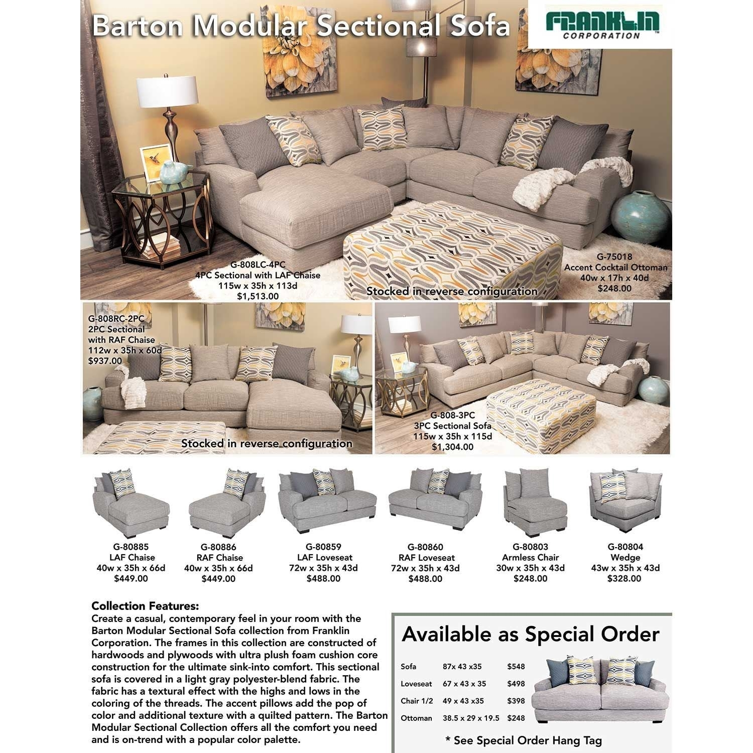 Barton 3Pc Sectional Sofa | G 808 3Pc | 80859 80860 80804 | Franklin For Burton Leather 3 Piece Sectionals With Ottoman (View 21 of 25)