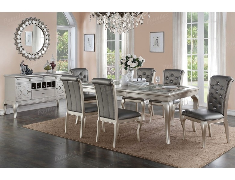 Barzini Silver Finish Dining Room Table Set In Dining Table Sets (Image 6 of 25)