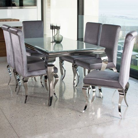 Basic Elegance Furnishings – Louis Contemporary Black Or White Glass Throughout Candice Ii 7 Piece Extension Rectangular Dining Sets With Uph Side Chairs (View 11 of 25)
