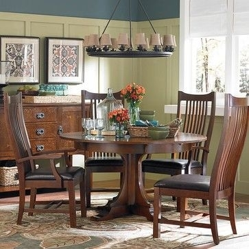 Bassett Furniture Gallery – Craftsman – Dining Tables – Other Metro Within Craftsman Round Dining Tables (Image 5 of 25)