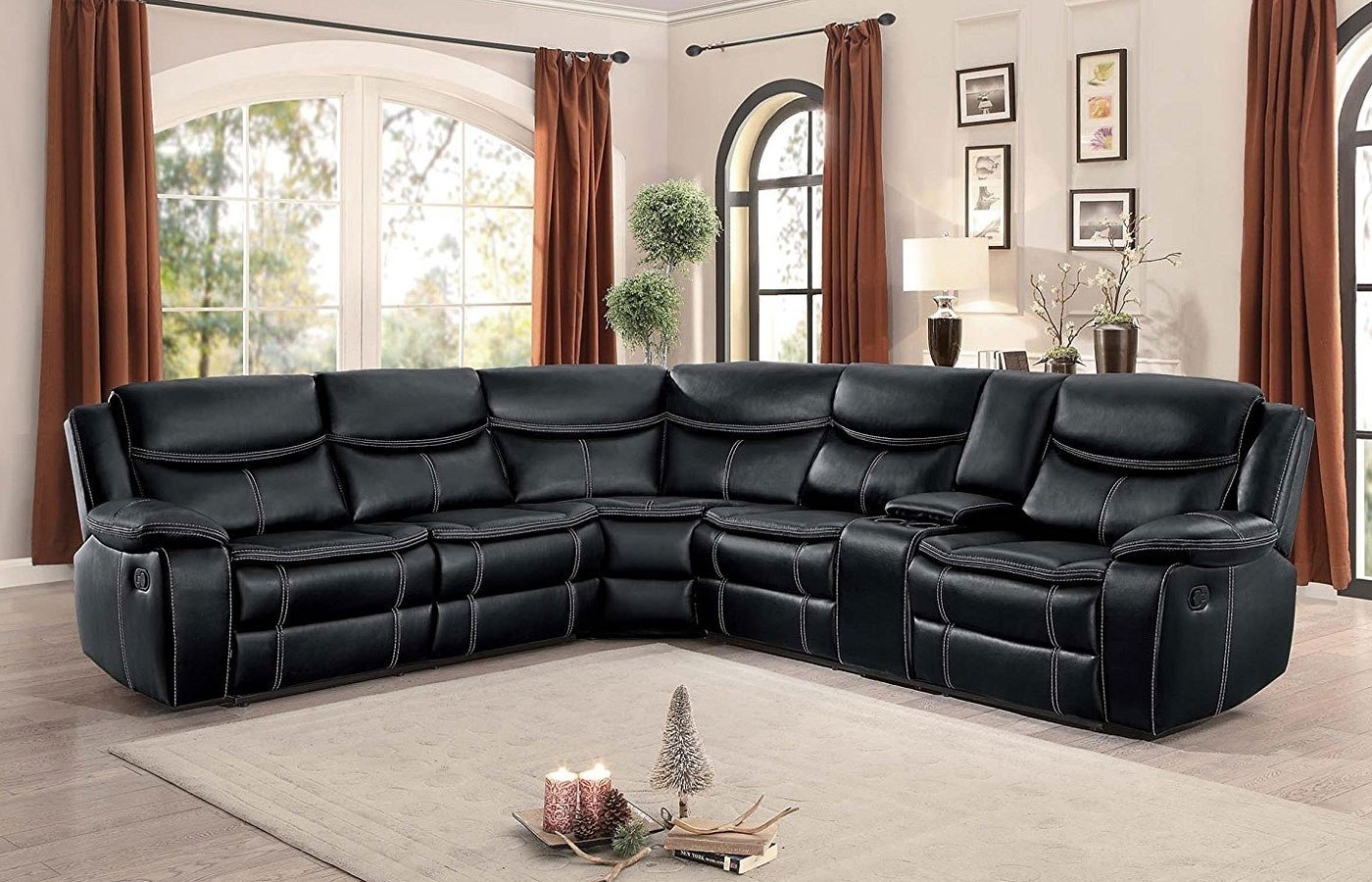 Bastrop Reclining Sectional (Black) – Living Room Furniture – Living For Nico Grey Sectionals With Left Facing Storage Chaise (Image 3 of 25)