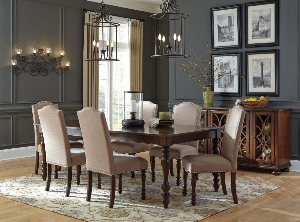 Baxenburg Rect Dining Room Ext Table & 6 Uph Side Chairs | D506/35 With Market 6 Piece Dining Sets With Side Chairs (Image 4 of 25)