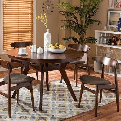 Baxton Studio – Kitchen & Dining Room Furniture – Furniture – The In Laurent 7 Piece Rectangle Dining Sets With Wood Chairs (Image 5 of 25)