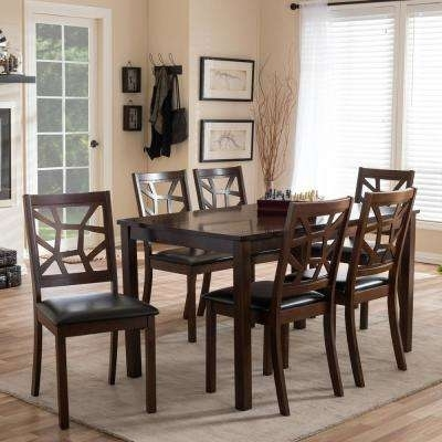 Baxton Studio – Kitchen & Dining Room Furniture – Furniture – The Inside Laurent 7 Piece Counter Sets With Wood Counterstools (Image 4 of 25)