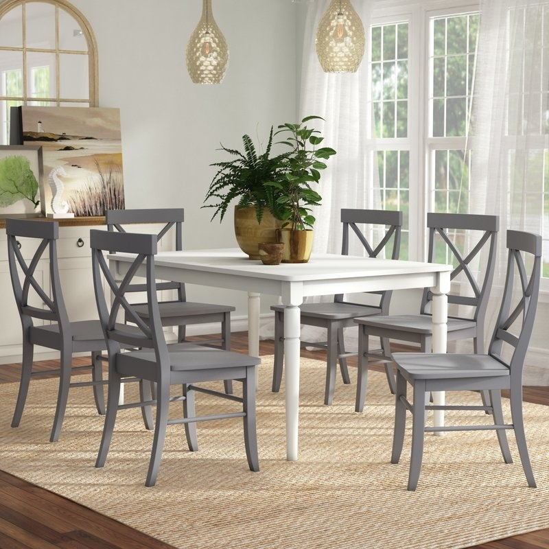 Beachcrest Home Brookwood 7 Piece Dining Set & Reviews | Wayfair Pertaining To Candice Ii 7 Piece Extension Rectangular Dining Sets With Uph Side Chairs (View 9 of 25)