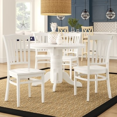 Beachcrest Home Langwater Traditional 5 Piece Solid Wood Dining Set Regarding Jaxon 5 Piece Extension Counter Sets With Wood Stools (Image 7 of 25)