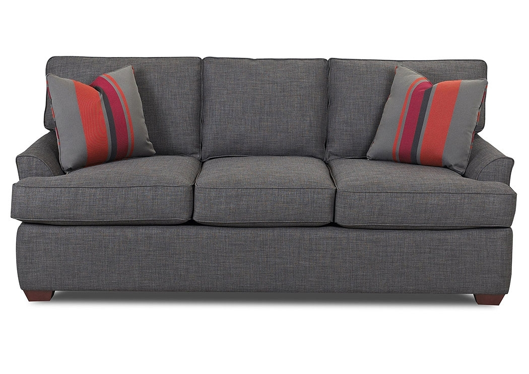 Beacon Furniture – Grand Cayman Grady Charcoal Fabric Stationary Sofa In Grady Round Dining Tables (Image 3 of 25)