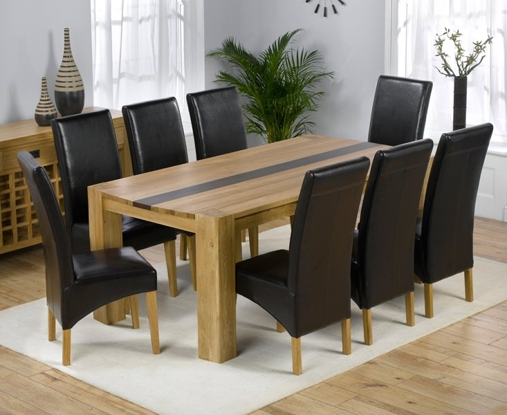 Beatrice Oak Dining Table With Walnut Strip And 8 Leather In Oak Dining Tables And Chairs (Image 2 of 25)