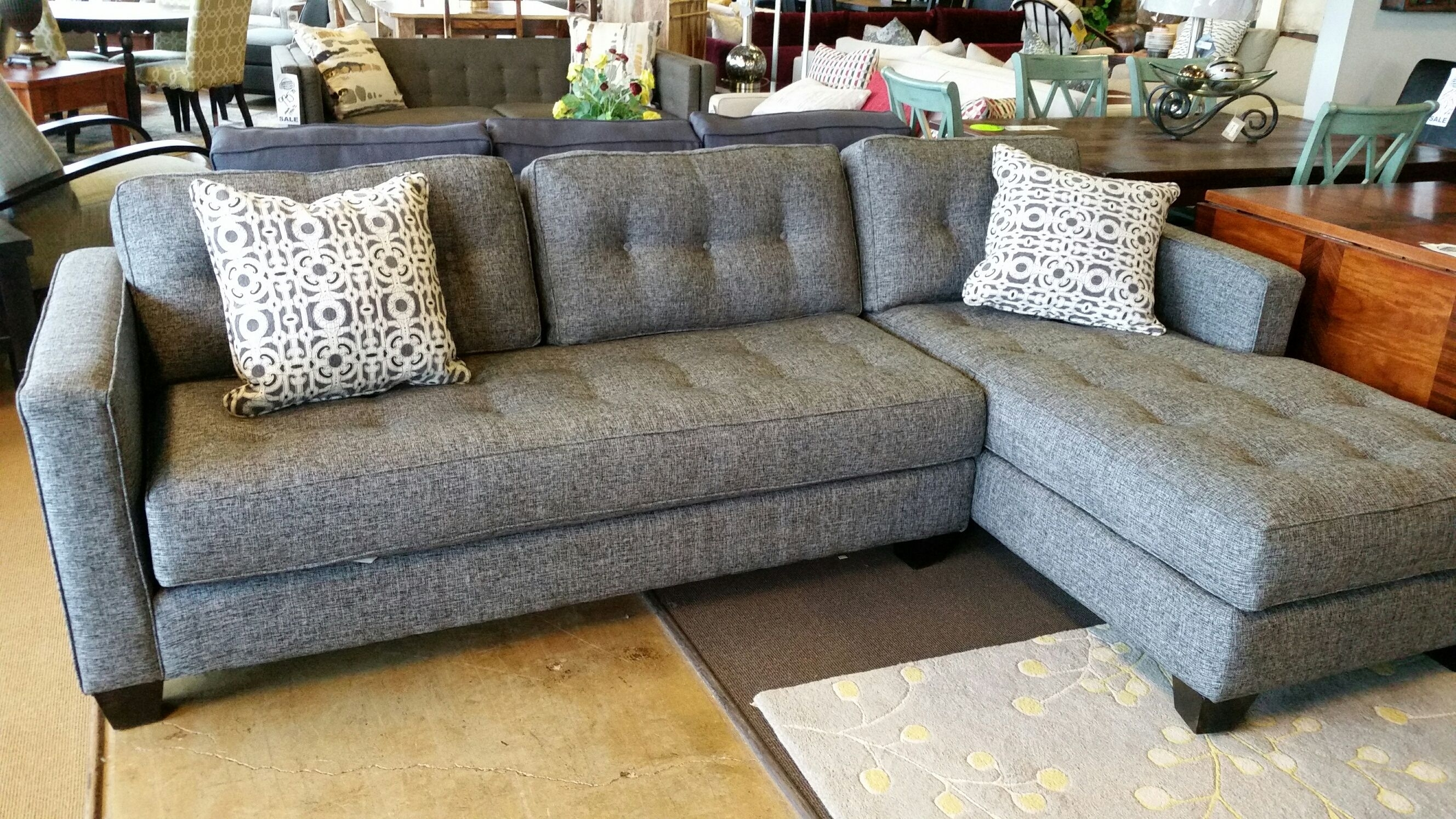 Beautiful Aspen Sofa Chase For Only $1699 | Grey Woven Fabric Throughout Burton Leather 3 Piece Sectionals With Ottoman (Image 4 of 25)