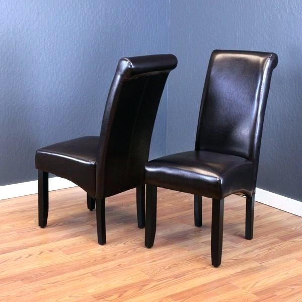 Beautiful Brown Leather Dining Chairs Monsoon Dark Faux Set Of 2 Pertaining To Dark Brown Leather Dining Chairs (Image 3 of 25)