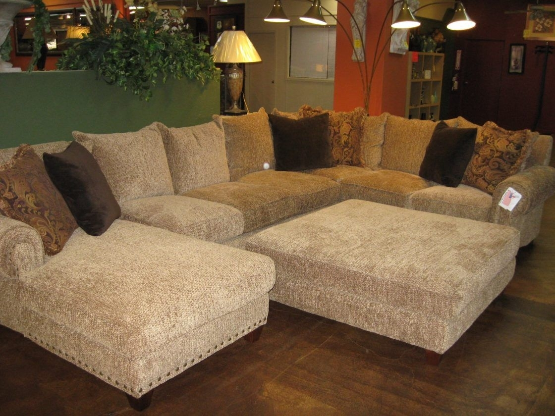 Beautiful Chic Beige Microfiber U Shaped Sectional Couch Living Room Inside Norfolk Chocolate 3 Piece Sectionals With Raf Chaise (Image 2 of 33)
