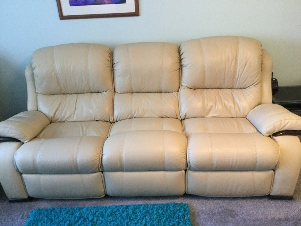 Beautiful, Comfortable Cream Leather 3 Piece Suite   In East Calder Inside Calder Grey 6 Piece Manual Reclining Sectionals (Image 3 of 25)