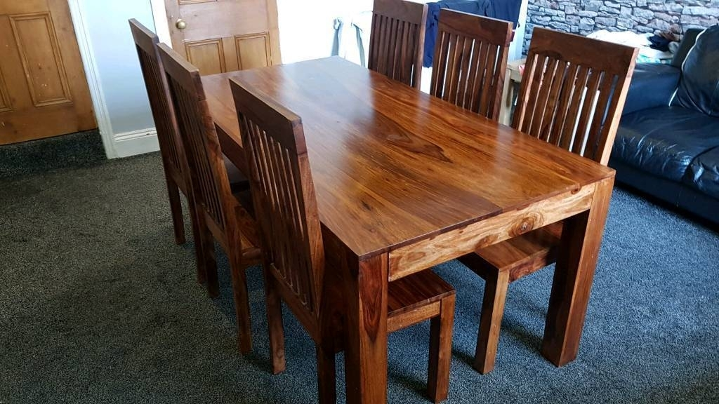 Beautiful Indian Sheesham Dining Table And 6 Chairs | In Halifax Pertaining To Sheesham Dining Chairs (Image 1 of 25)